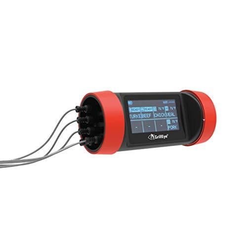 GrillEye GE0003 Pro Plus Grill- und Räucherthermometer mit Hybrid-Funk-Technologie und Cloud-Überwachung, Rot / Schwarz