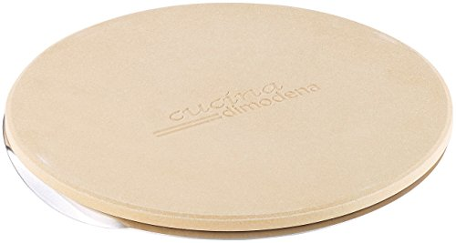 Cucina di Modena Pizza Stone: Runder Pizzastein mit Aluminium-Servierblech, Ø 26 cm (Pizzastein für Backofen)