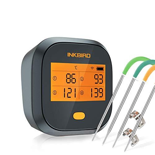 Inkbird IBBQ-4T WLAN Grillthermometer Wasserdichtes, WiFi Fleischthermometer mit 4 Temperaturfühlern + Magnethalter, USB-Wiederaufladbares Bratenthermometer mit Dual-Alarm Funktion für BBQ
