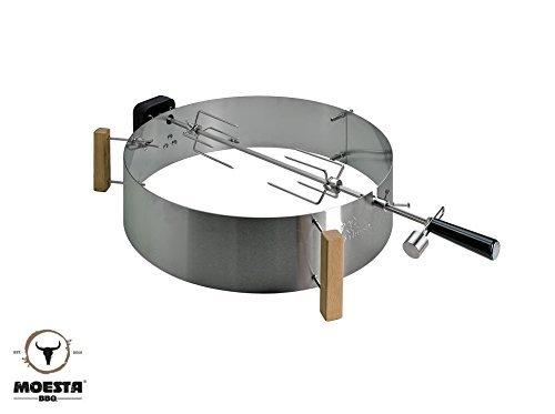 Moesta-BBQ 10093 Rotisserie-Set mit Smokin' PizzaRing – Moesta Drehspieß mit kabellosem Batterie-Motor für Grill-Hähnchen u.v.a.- Für Kugel-Grills mit 57cm Ø