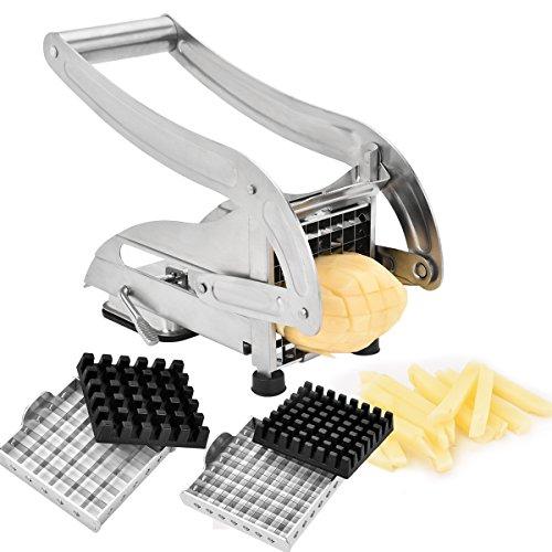 Sopito Pommes Frites Schneider, Professioneller Grad Pommesschneider Edelstahl mit 2 Klingen Für dünne oder größere Fritten